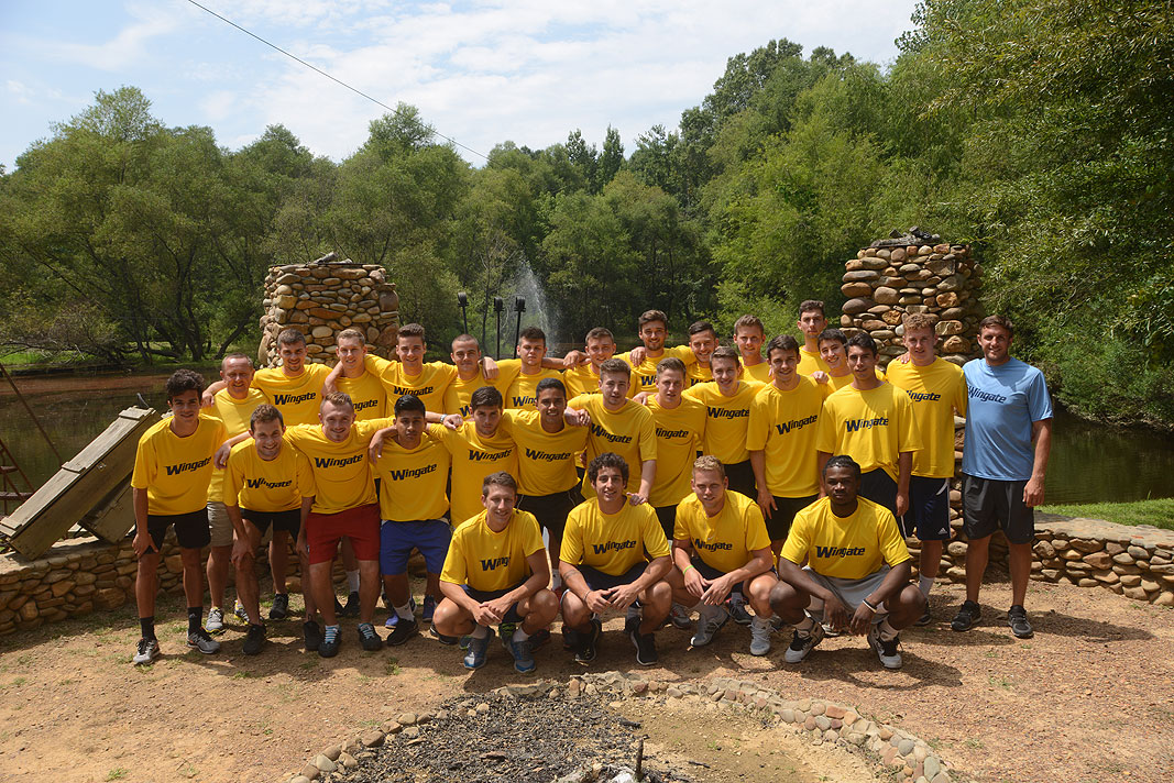 Wingate University Soccer Team at Xtreeme Challenge Team Building Center in Monroe North Carolina
