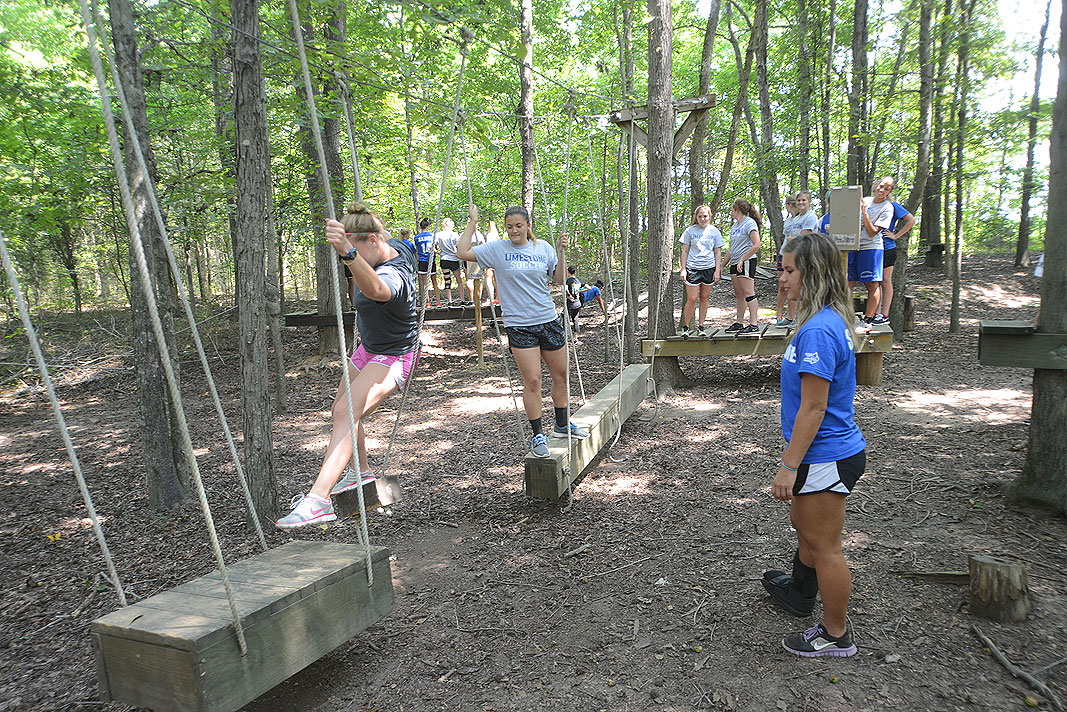 Limestone College Women's Soccer Team at Xtreeme Challenge Outdoor Adventure Team Building Center in Charlotte North Carolina