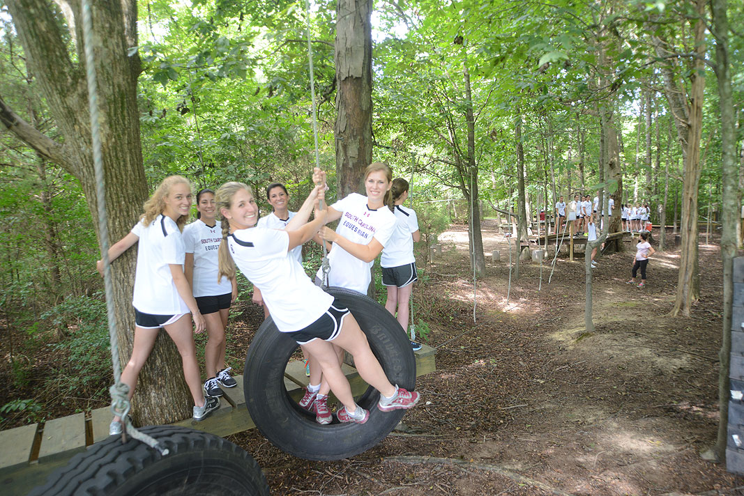 University of South Carolina Equestrian Team at Xtreeme Challenge Outdoor Adventure Team Building Center in Charlotte North Carolina