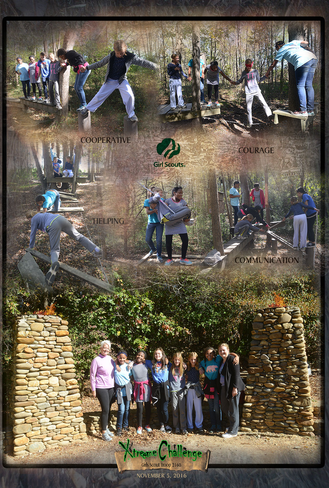 Girl Scout Troop 2160 at Xtreeme Challenge Outdoor Adventure Center in Monroe North Carolina