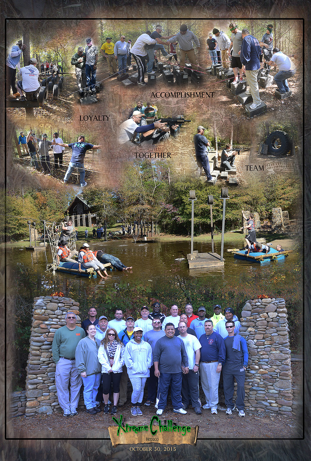 Hepaco at Xtreeme Challenges 17 acre team building center in Charlotte North Carolina