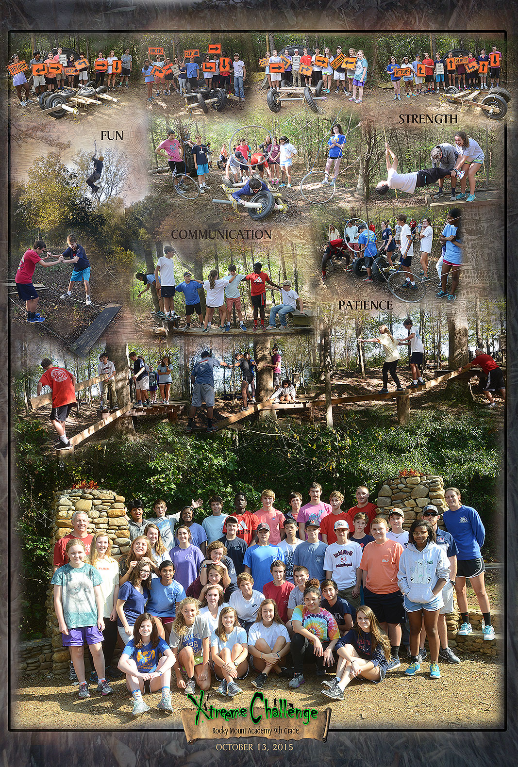 Rocky Mount Academy 9th Grade Class at Xtreeme Challenge Team Building Center in Monroe North Carolina