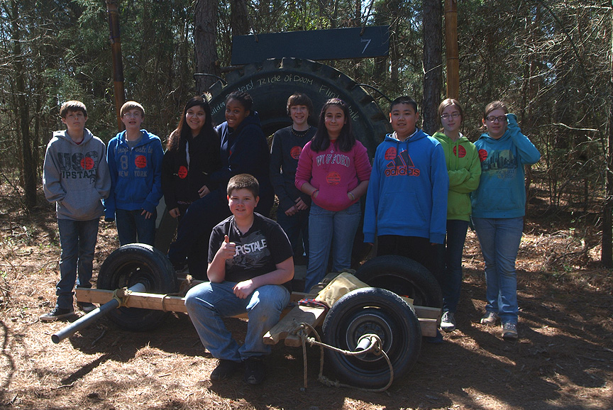 Boiling Springs 7th grade class doing a field trip with Xtreeme Challenge