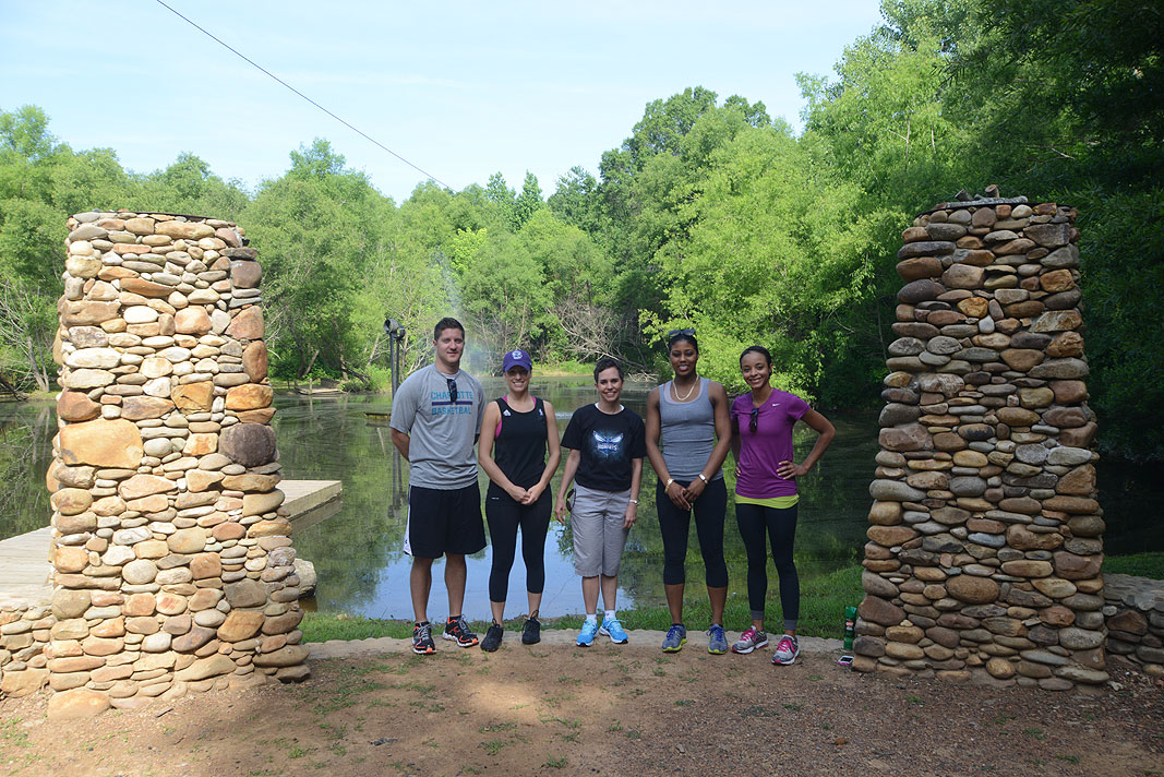 Charlotte Hornets Team Building at Xtreeme Challenge Outdoor Adventure Center in Charlotte North Carolina