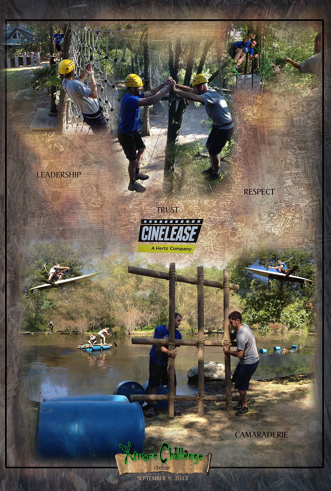 Cinelease two man team building program at Xtreeme Chasllenge in Monroe North Carolina