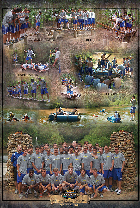 Limestone College Mens soccr team building event poster at Xtreeme Challenge in North Carolina