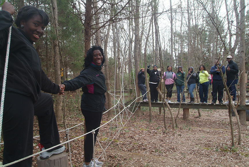 Teams working together on the two cord bridge from North Carolina A&T State University RA training program