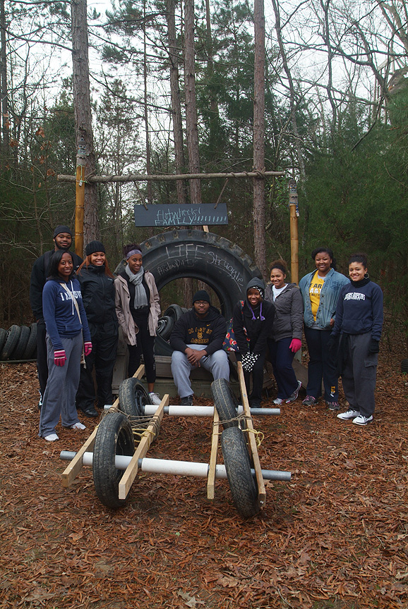 RA's from N C A&T State University engineer a special ride on The Outdoor Adventure Trail at Xtreeme Challenge