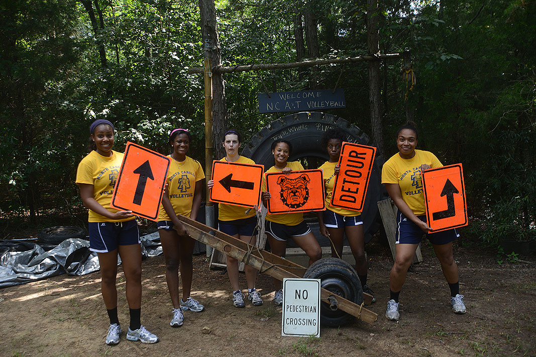 North Carolina A & T University Volleyball Team at Xtreeme Challenge Team Building Center in Monroe North Caroina