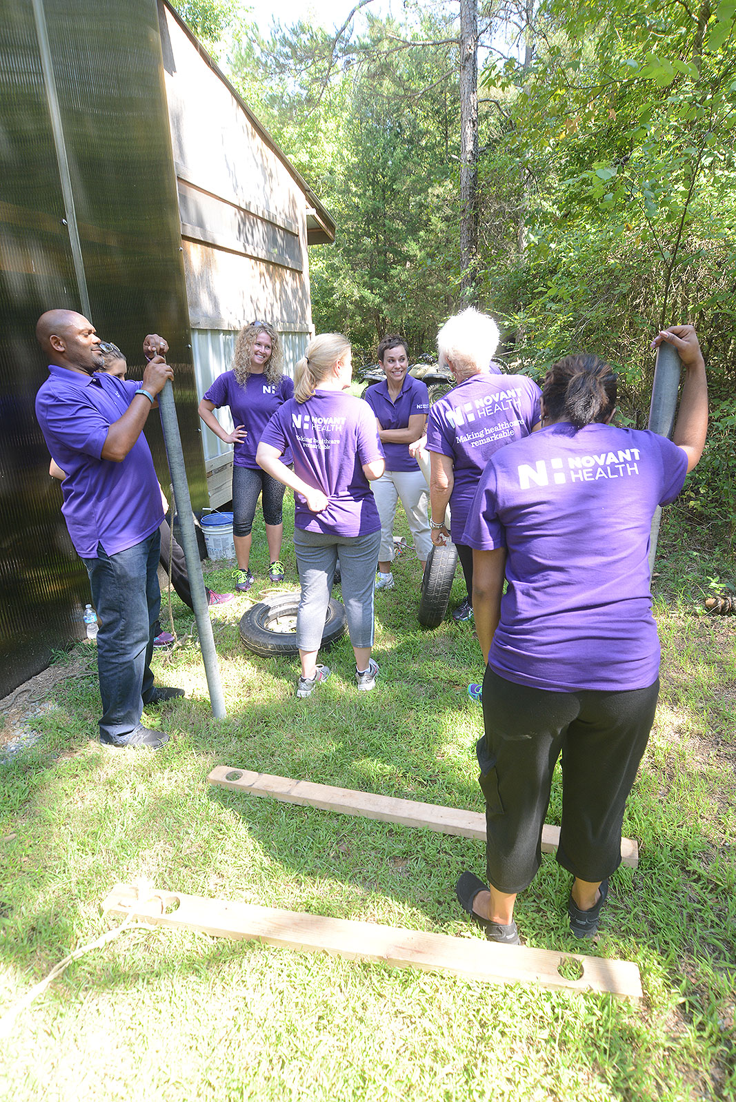 Novant Health Foundation and Community Engagement at Xtreeme Challenge Team Building Center in Monroe North Carolina