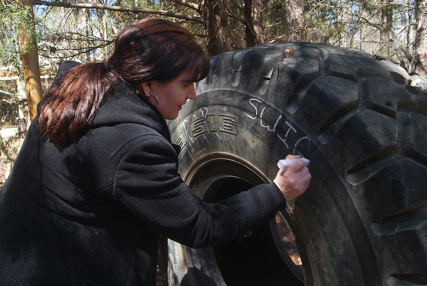 Class room chalkboards using tires on The Adventure Trail of Xtreeme Challenge
