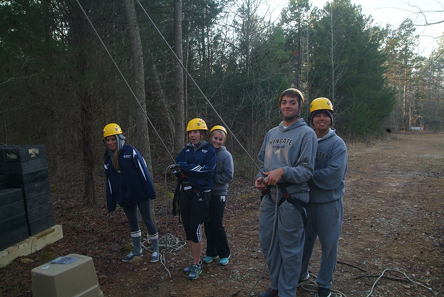 On Belay Life Line with the Wingate Tennis Team
